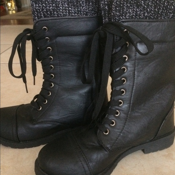 Shoes Black Womens Lace Up Boots With Knit Top Poshmark